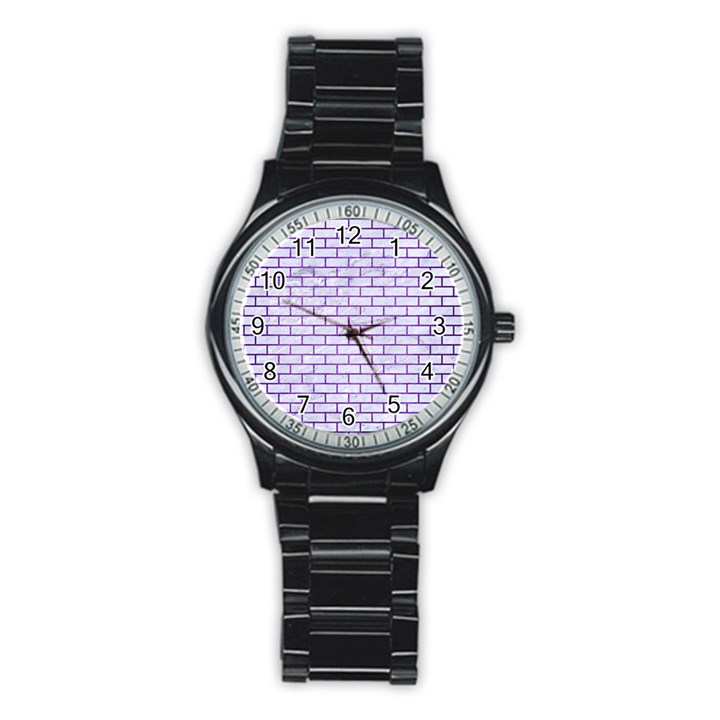 BRICK1 WHITE MARBLE & PURPLE BRUSHED METAL (R) Stainless Steel Round Watch