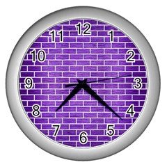 Brick1 White Marble & Purple Brushed Metal Wall Clocks (silver)  by trendistuff
