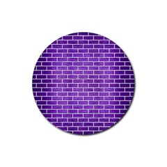 Brick1 White Marble & Purple Brushed Metal Rubber Coaster (round)  by trendistuff
