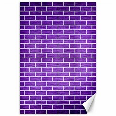 Brick1 White Marble & Purple Brushed Metal Canvas 12  X 18   by trendistuff