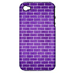 Brick1 White Marble & Purple Brushed Metal Apple Iphone 4/4s Hardshell Case (pc+silicone) by trendistuff