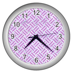 Woven2 White Marble & Purple Colored Pencil (r) Wall Clocks (silver)  by trendistuff