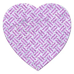 Woven2 White Marble & Purple Colored Pencil (r) Jigsaw Puzzle (heart) by trendistuff