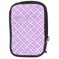 Woven2 White Marble & Purple Colored Pencil (r) Compact Camera Cases by trendistuff