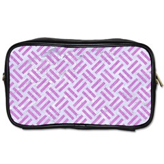 Woven2 White Marble & Purple Colored Pencil (r) Toiletries Bags 2 Side by trendistuff