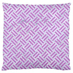 Woven2 White Marble & Purple Colored Pencil (r) Standard Flano Cushion Case (one Side) by trendistuff