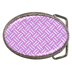 Woven2 White Marble & Purple Colored Pencil Belt Buckles