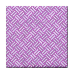Woven2 White Marble & Purple Colored Pencil Face Towel by trendistuff