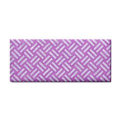 Woven2 White Marble & Purple Colored Pencil Hand Towel by trendistuff