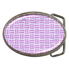 Woven1 White Marble & Purple Colored Pencil (r) Belt Buckles by trendistuff