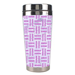 Woven1 White Marble & Purple Colored Pencil (r) Stainless Steel Travel Tumblers by trendistuff
