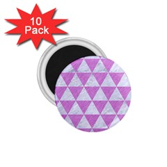 Triangle3 White Marble & Purple Colored Pencil 1 75  Magnets (10 Pack)  by trendistuff