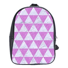 Triangle3 White Marble & Purple Colored Pencil School Bag (large) by trendistuff