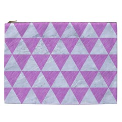 Triangle3 White Marble & Purple Colored Pencil Cosmetic Bag (xxl)  by trendistuff