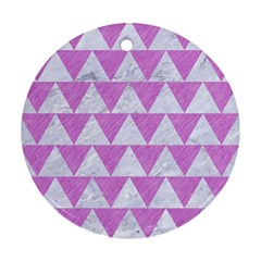 Triangle2 White Marble & Purple Colored Pencil Round Ornament (two Sides) by trendistuff