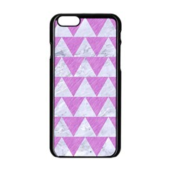 Triangle2 White Marble & Purple Colored Pencil Apple Iphone 6/6s Black Enamel Case by trendistuff