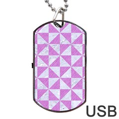 Triangle1 White Marble & Purple Colored Pencil Dog Tag Usb Flash (two Sides) by trendistuff
