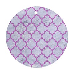 Tile1 White Marble & Purple Colored Pencil (r) Round Ornament (two Sides) by trendistuff