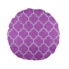 Tile1 White Marble & Purple Colored Pencil Standard 15  Premium Round Cushions by trendistuff