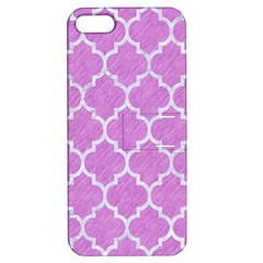 Tile1 White Marble & Purple Colored Pencil Apple Iphone 5 Hardshell Case With Stand