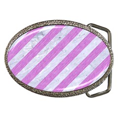 Stripes3 White Marble & Purple Colored Pencil (r) Belt Buckles by trendistuff