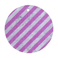 Stripes3 White Marble & Purple Colored Pencil (r) Round Ornament (two Sides) by trendistuff