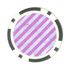 Stripes3 White Marble & Purple Colored Pencil (r) Poker Chip Card Guard by trendistuff