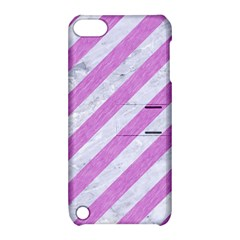 Stripes3 White Marble & Purple Colored Pencil (r) Apple Ipod Touch 5 Hardshell Case With Stand by trendistuff
