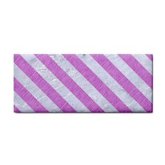 Stripes3 White Marble & Purple Colored Pencil Hand Towel by trendistuff