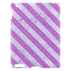 Stripes3 White Marble & Purple Colored Pencil Apple Ipad 3/4 Hardshell Case by trendistuff