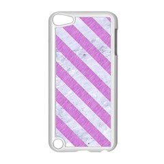 Stripes3 White Marble & Purple Colored Pencil Apple Ipod Touch 5 Case (white) by trendistuff