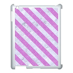 Stripes3 White Marble & Purple Colored Pencil Apple Ipad 3/4 Case (white) by trendistuff