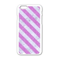 Stripes3 White Marble & Purple Colored Pencil Apple Iphone 6/6s White Enamel Case by trendistuff