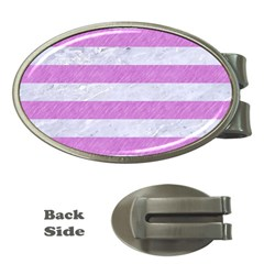 Stripes2white Marble & Purple Colored Pencil Money Clips (oval)  by trendistuff