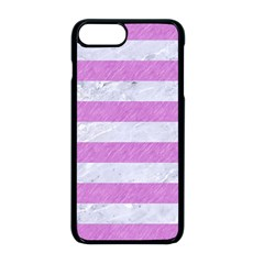 Stripes2white Marble & Purple Colored Pencil Apple Iphone 8 Plus Seamless Case (black)