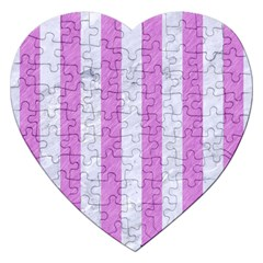 Stripes1 White Marble & Purple Colored Pencil Jigsaw Puzzle (heart) by trendistuff