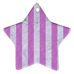 Stripes1 White Marble & Purple Colored Pencil Star Ornament (two Sides) by trendistuff