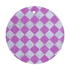 Square2 White Marble & Purple Colored Pencil Round Ornament (two Sides) by trendistuff