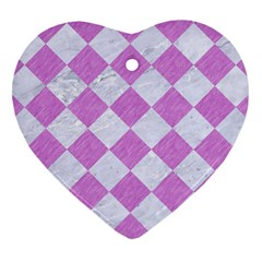 Square2 White Marble & Purple Colored Pencil Heart Ornament (two Sides) by trendistuff