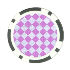 Square2 White Marble & Purple Colored Pencil Poker Chip Card Guard by trendistuff