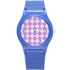 Square2 White Marble & Purple Colored Pencil Round Plastic Sport Watch (s) by trendistuff