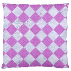 Square2 White Marble & Purple Colored Pencil Large Cushion Case (two Sides) by trendistuff