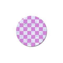 Square1 White Marble & Purple Colored Pencil Golf Ball Marker by trendistuff