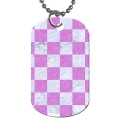 Square1 White Marble & Purple Colored Pencil Dog Tag (two Sides) by trendistuff