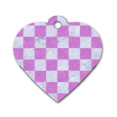 Square1 White Marble & Purple Colored Pencil Dog Tag Heart (one Side) by trendistuff