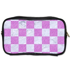 Square1 White Marble & Purple Colored Pencil Toiletries Bags 2 Side by trendistuff