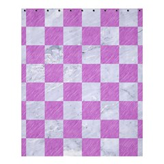 Square1 White Marble & Purple Colored Pencil Shower Curtain 60  X 72  (medium)  by trendistuff