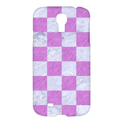 Square1 White Marble & Purple Colored Pencil Samsung Galaxy S4 I9500/i9505 Hardshell Case by trendistuff