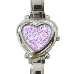 Skin5 White Marble & Purple Colored Pencil Heart Italian Charm Watch by trendistuff