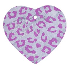 Skin5 White Marble & Purple Colored Pencil Heart Ornament (two Sides) by trendistuff